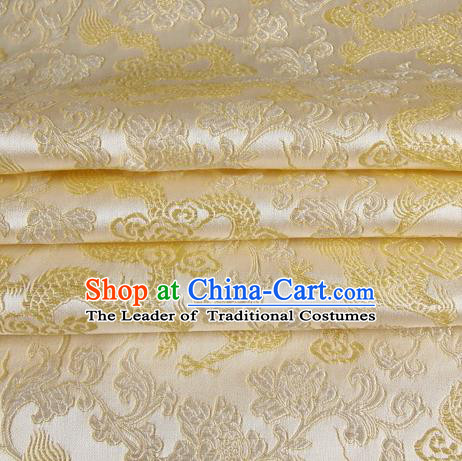 Chinese Traditional Costume Royal Palace Golden Dragon Pattern White Satin Brocade Fabric, Chinese Ancient Clothing Drapery Hanfu Cheongsam Material