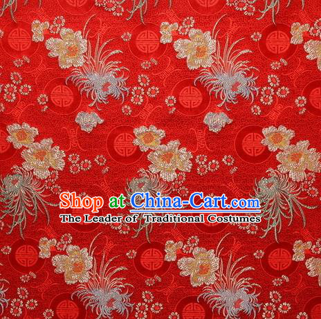 Chinese Traditional Costume Royal Palace Chrysanthemum Pattern Red Satin Brocade Fabric, Chinese Ancient Clothing Drapery Hanfu Cheongsam Material
