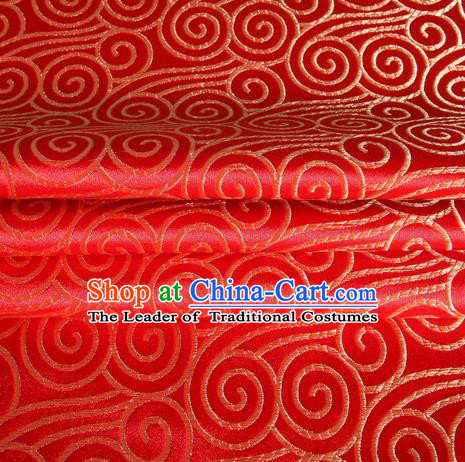 Chinese Traditional Costume Royal Palace Auspicious Clouds Pattern Red Satin Brocade Fabric, Chinese Ancient Clothing Drapery Hanfu Cheongsam Material