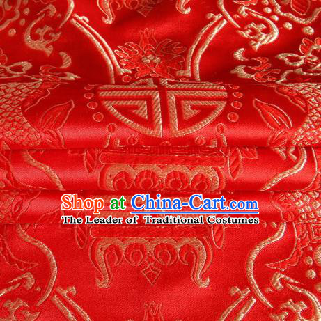 Chinese Traditional Costume Royal Palace Fishes Pattern Red Satin Brocade Fabric, Chinese Ancient Clothing Drapery Hanfu Cheongsam Material
