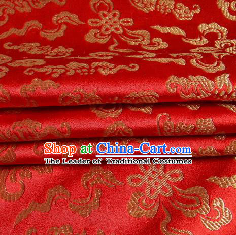Chinese Traditional Costume Royal Palace Chinese Knots Pattern Red Satin Brocade Fabric, Chinese Ancient Clothing Drapery Hanfu Cheongsam Material
