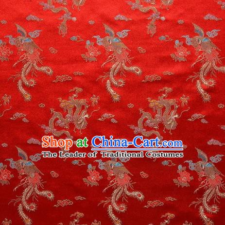 Chinese Traditional Costume Royal Palace Phenix Pattern Red Satin Brocade Fabric, Chinese Ancient Clothing Drapery Hanfu Cheongsam Material