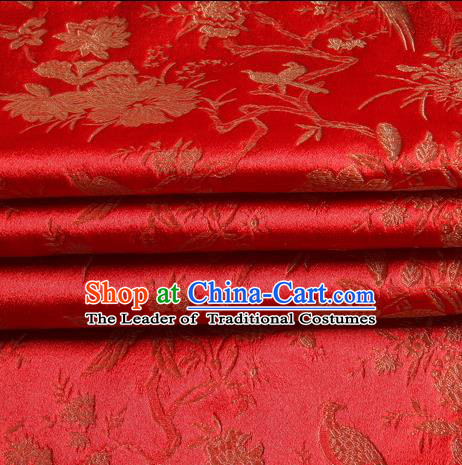 Chinese Traditional Costume Royal Palace Magpie Pattern Red Satin Brocade Fabric, Chinese Ancient Clothing Drapery Hanfu Cheongsam Material