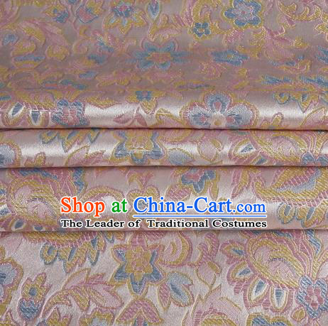 Chinese Traditional Costume Royal Palace Morning Glory Pattern Pink Satin Brocade Fabric, Chinese Ancient Clothing Drapery Hanfu Cheongsam Material