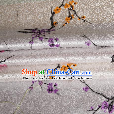 Chinese Traditional Costume Royal Palace Plum Blossom Pattern White Satin Brocade Fabric, Chinese Ancient Clothing Drapery Hanfu Cheongsam Material
