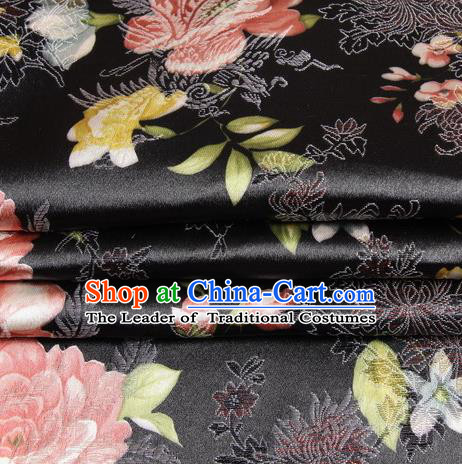 Chinese Traditional Costume Royal Palace Peony Pattern Black Satin Brocade Fabric, Chinese Ancient Clothing Drapery Hanfu Cheongsam Material