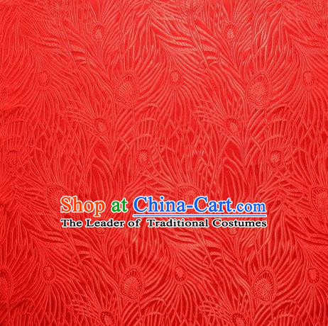 Chinese Royal Palace Traditional Costume Peacock Feather Pattern Red Satin Brocade Fabric, Chinese Ancient Clothing Drapery Hanfu Cheongsam Material