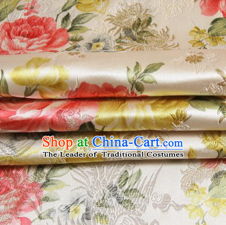 Chinese Traditional Costume Royal Palace Peony Pattern White Satin Brocade Fabric, Chinese Ancient Clothing Drapery Hanfu Cheongsam Material