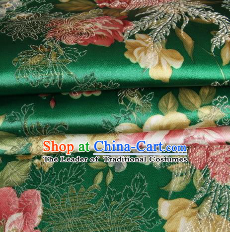 Chinese Traditional Costume Royal Palace Peony Pattern Green Satin Brocade Fabric, Chinese Ancient Clothing Drapery Hanfu Cheongsam Material