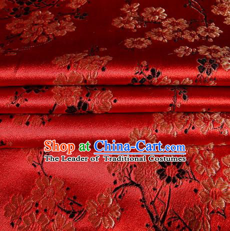 Chinese Traditional Costume Royal Palace Plum Blossom Pattern Red Satin Brocade Fabric, Chinese Ancient Clothing Drapery Hanfu Cheongsam Material
