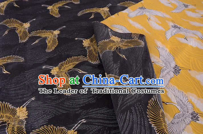 Chinese Traditional Costume Royal Palace Jacquard Weave Crane Yellow Brocade Kimono Fabric, Chinese Ancient Clothing Drapery Hanfu Cheongsam Material