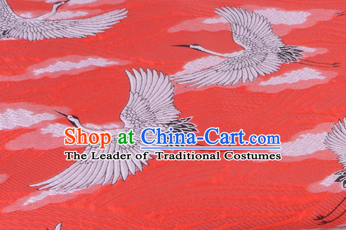 Chinese Traditional Costume Royal Palace Jacquard Weave Crane Red Brocade Kimono Fabric, Chinese Ancient Clothing Drapery Hanfu Cheongsam Material