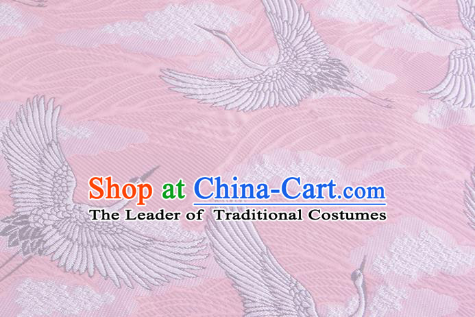 Chinese Traditional Costume Royal Palace Jacquard Weave Crane Pink Brocade Kimono Fabric, Chinese Ancient Clothing Drapery Hanfu Cheongsam Material