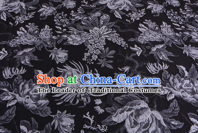 Chinese Traditional Costume Royal Palace Jacquard Weave Chrysanthemum Black Fabric, Chinese Ancient Clothing Drapery Hanfu Cheongsam Material