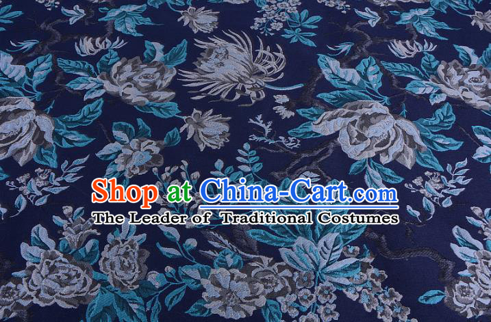 Chinese Traditional Costume Royal Palace Jacquard Weave Chrysanthemum Blue Fabric, Chinese Ancient Clothing Drapery Hanfu Cheongsam Material