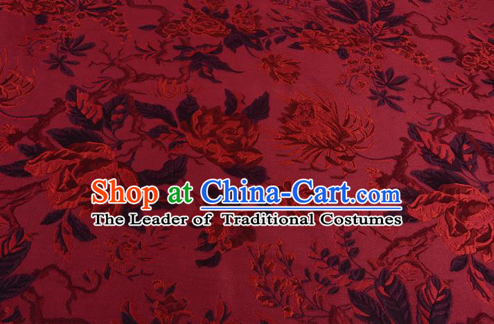 Chinese Traditional Costume Royal Palace Jacquard Weave Chrysanthemum Red Fabric, Chinese Ancient Clothing Drapery Hanfu Cheongsam Material