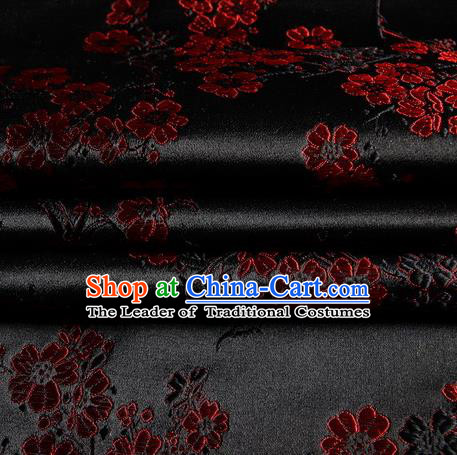 Chinese Traditional Costume Royal Palace Plum Blossom Pattern Black Satin Brocade Fabric, Chinese Ancient Clothing Drapery Hanfu Cheongsam Material