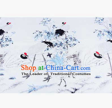 Chinese Traditional Costume Royal Palace Jacquard Weave Crane White Brocade Fabric, Chinese Ancient Clothing Drapery Hanfu Cheongsam Material