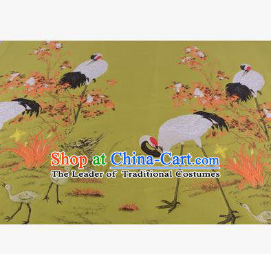 Chinese Traditional Costume Royal Palace Jacquard Weave Crane Ginger Brocade Fabric, Chinese Ancient Clothing Drapery Hanfu Cheongsam Material