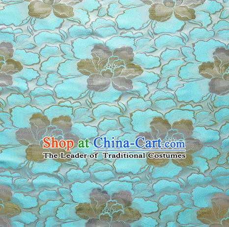 Chinese Traditional Costume Royal Palace Lotus Pattern Blue Satin Brocade Fabric, Chinese Ancient Clothing Drapery Hanfu Cheongsam Material