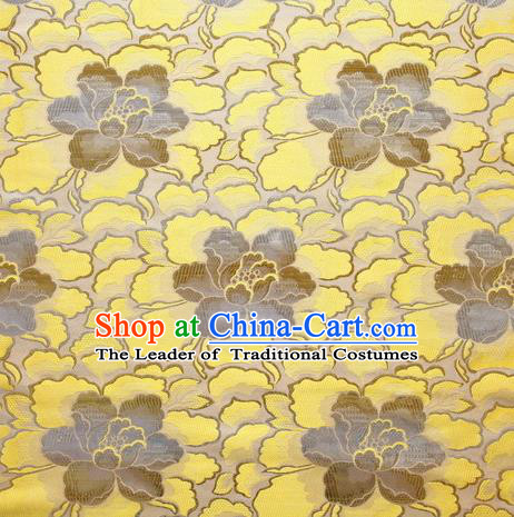 Chinese Traditional Costume Royal Palace Lotus Pattern Yellow Satin Brocade Fabric, Chinese Ancient Clothing Drapery Hanfu Cheongsam Material
