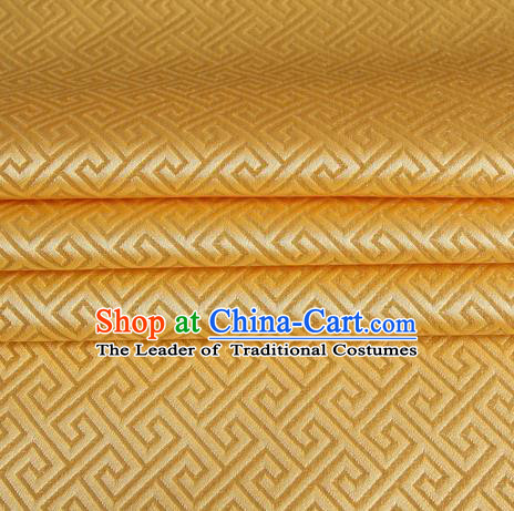 Chinese Traditional Costume Royal Palace Great Wall Pattern Golden Satin Brocade Fabric, Chinese Ancient Clothing Drapery Hanfu Cheongsam Material