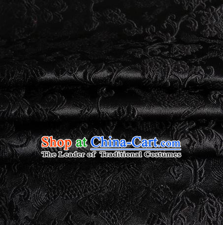 Chinese Traditional Costume Royal Palace Dragons Pattern Black Satin Brocade Fabric, Chinese Ancient Clothing Drapery Hanfu Cheongsam Material