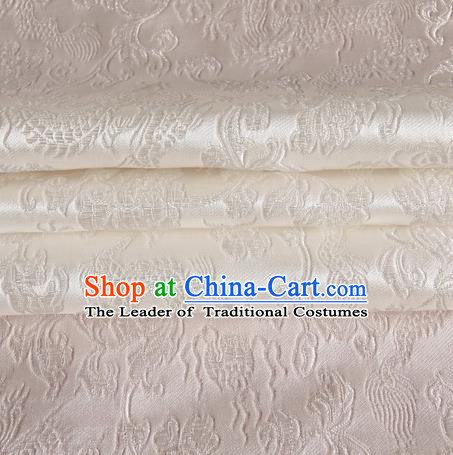 Chinese Traditional Costume Royal Palace Dragons Pattern White Satin Brocade Fabric, Chinese Ancient Clothing Drapery Hanfu Cheongsam Material