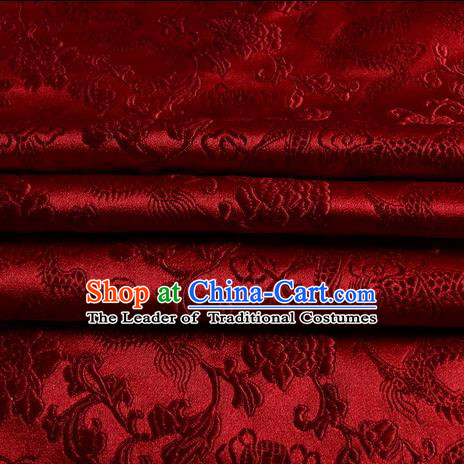 Chinese Traditional Costume Royal Palace Dragons Pattern Purplish Red Satin Brocade Fabric, Chinese Ancient Clothing Drapery Hanfu Cheongsam Material