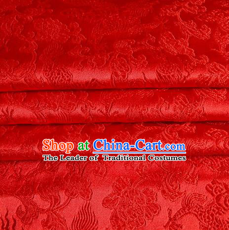 Chinese Traditional Costume Royal Palace Dragons Pattern Red Satin Brocade Fabric, Chinese Ancient Clothing Drapery Hanfu Cheongsam Material