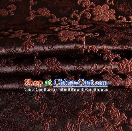 Chinese Traditional Costume Royal Palace Dragons Pattern Coffee Satin Brocade Fabric, Chinese Ancient Clothing Drapery Hanfu Cheongsam Material