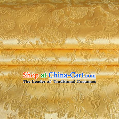 Chinese Traditional Costume Royal Palace Dragons Pattern Golden Satin Brocade Fabric, Chinese Ancient Clothing Drapery Hanfu Cheongsam Material