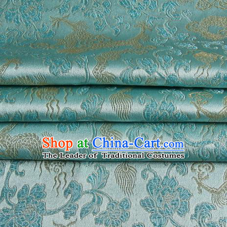 Chinese Traditional Costume Royal Palace Dragons Pattern Blue Satin Brocade Fabric, Chinese Ancient Clothing Drapery Hanfu Cheongsam Material