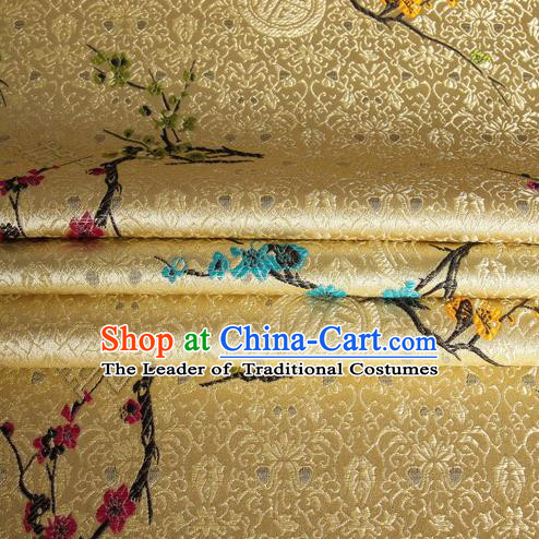 Chinese Traditional Costume Royal Palace Wintersweet Pattern Mud Golden Satin Brocade Fabric, Chinese Ancient Clothing Drapery Hanfu Cheongsam Material