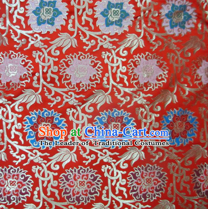 Chinese Traditional Costume Royal Palace Pattern Red Satin Nanjing Brocade Fabric, Chinese Ancient Clothing Drapery Hanfu Cheongsam Material