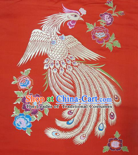 Chinese Traditional Costume Royal Palace Phoenix Pattern Red Satin Nanjing Brocade Fabric, Chinese Ancient Clothing Drapery Hanfu Cheongsam Material