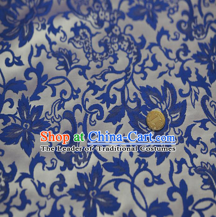 Chinese Traditional Costume Royal Palace Blue and White Porcelain Pattern Satin Nanjing Brocade Fabric, Chinese Ancient Clothing Drapery Hanfu Cheongsam Material