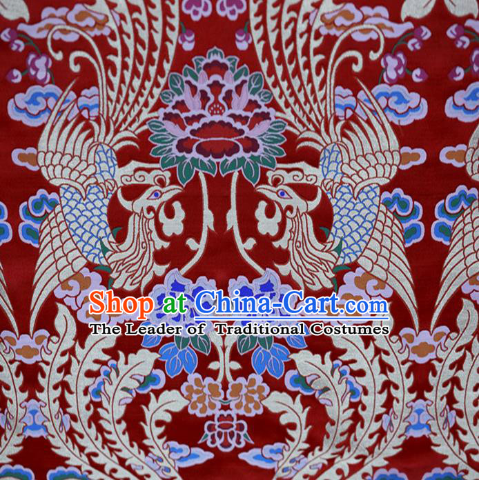 Chinese Traditional Costume Royal Palace Phoenix Pattern Satin Nanjing Brocade Fabric, Chinese Ancient Clothing Drapery Hanfu Cheongsam Material