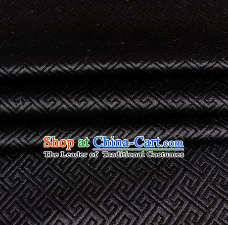 Chinese Traditional Costume Royal Palace Great Wall Pattern Black Satin Brocade Fabric, Chinese Ancient Clothing Drapery Hanfu Cheongsam Material