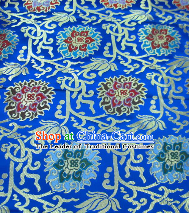 Chinese Traditional Costume Royal Palace Rose Pattern Royalblue Satin Nanjing Brocade Fabric, Chinese Ancient Clothing Drapery Hanfu Cheongsam Material