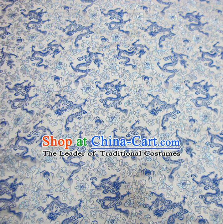 Chinese Traditional Costume Royal Palace Blue and White Porcelain Dragons Pattern Satin Brocade Fabric, Chinese Ancient Clothing Drapery Hanfu Cheongsam Material