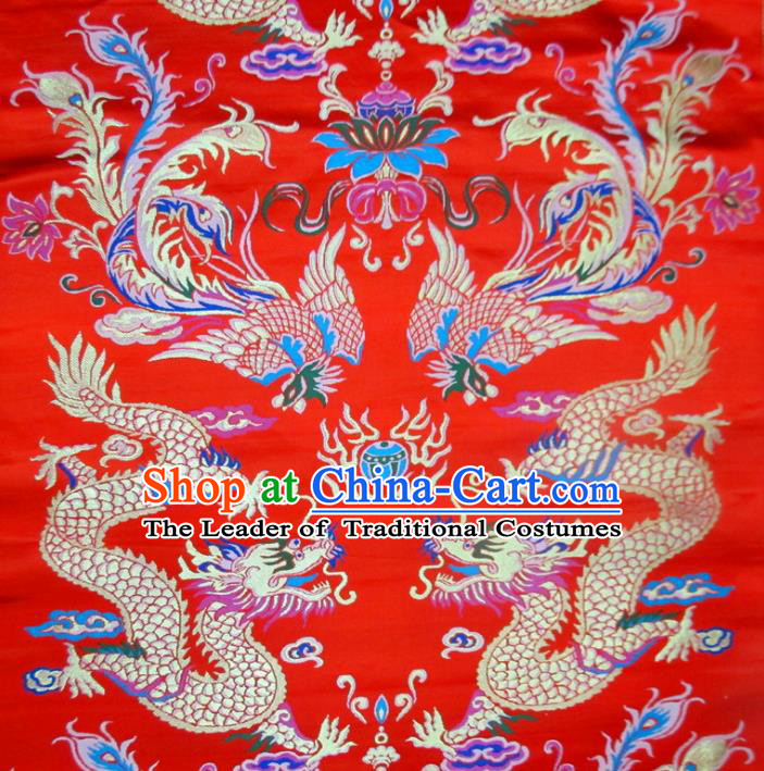Chinese Traditional Costume Royal Palace Phoenix Dragon Pattern Red Satin Nanjing Brocade Fabric, Chinese Ancient Clothing Drapery Hanfu Cheongsam Material