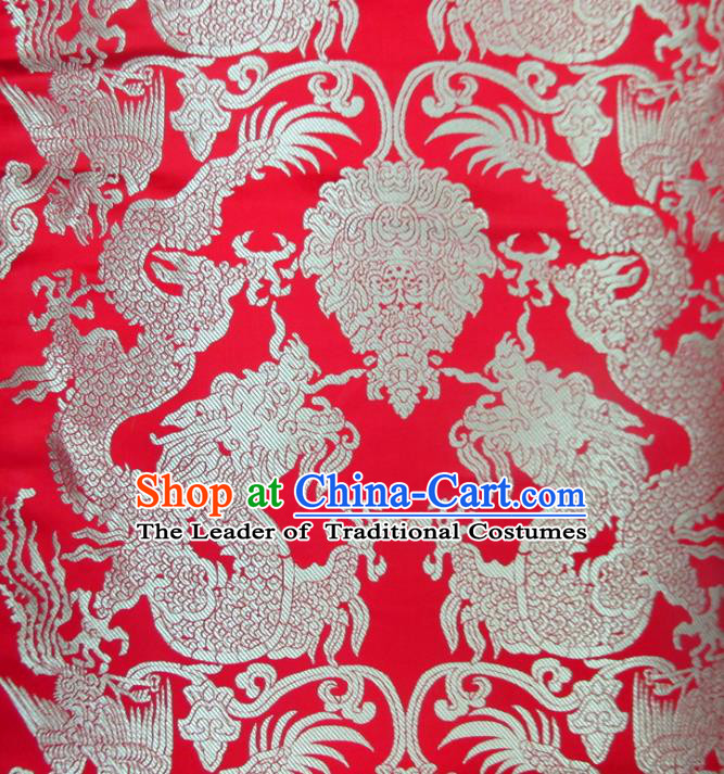 Chinese Traditional Costume Royal Palace Dragons Pattern Red Satin Nanjing Brocade Fabric, Chinese Ancient Clothing Drapery Hanfu Cheongsam Material
