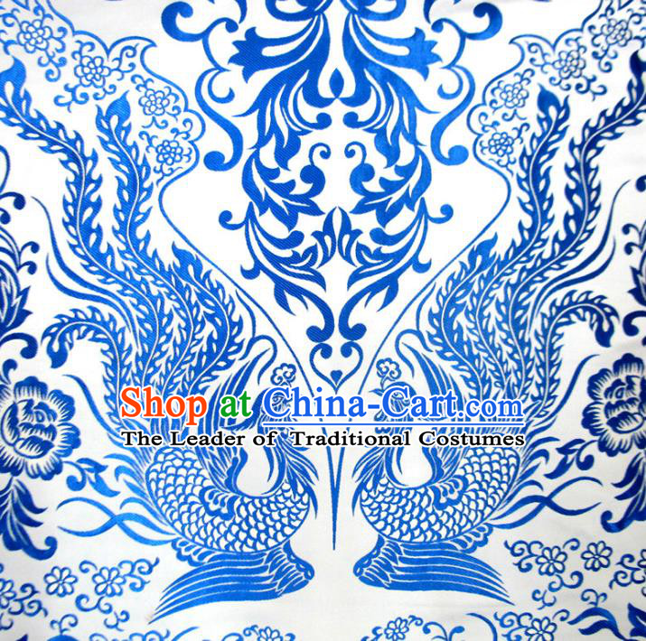 Chinese Traditional Costume Royal Palace Blue and White Porcelain Phoenix Pattern Satin Nanjing Brocade Fabric, Chinese Ancient Clothing Drapery Hanfu Cheongsam Material