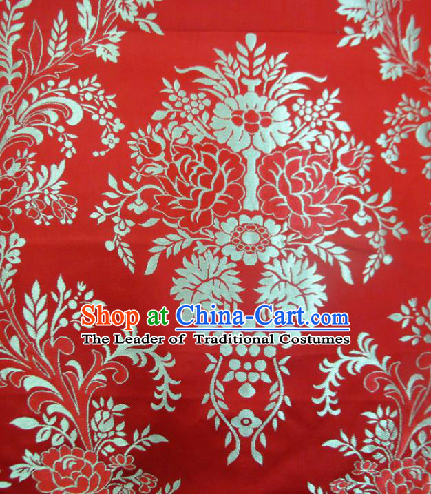 Chinese Traditional Costume Royal Palace Flowers Pattern Red Satin Nanjing Brocade Fabric, Chinese Ancient Clothing Drapery Hanfu Cheongsam Material