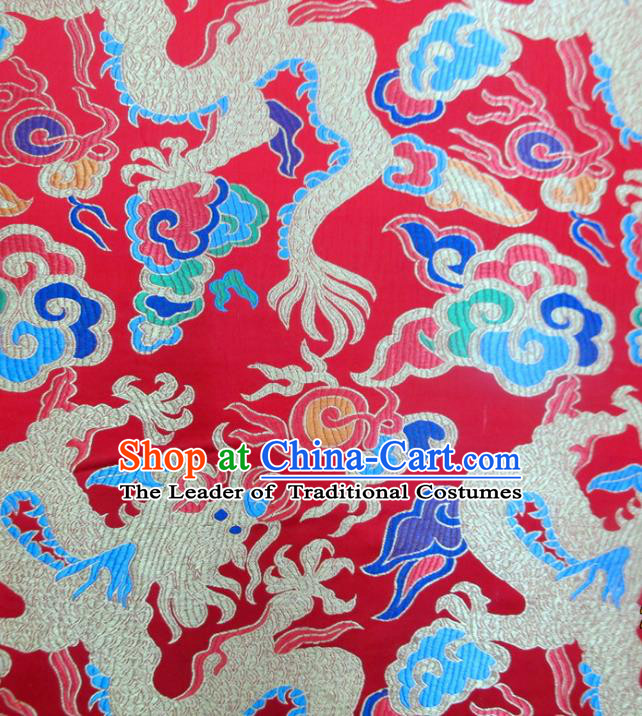 Chinese Traditional Costume Royal Palace Dragon Pattern Red Satin Nanjing Brocade Fabric, Chinese Ancient Clothing Drapery Hanfu Cheongsam Material