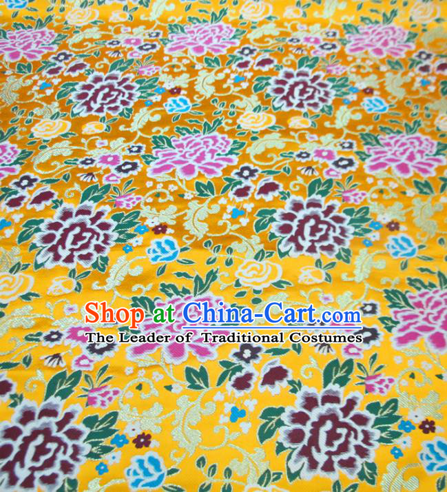 Chinese Traditional Costume Royal Palace Peony Pattern Yellow Satin Nanjing Brocade Fabric, Chinese Ancient Clothing Drapery Hanfu Cheongsam Material
