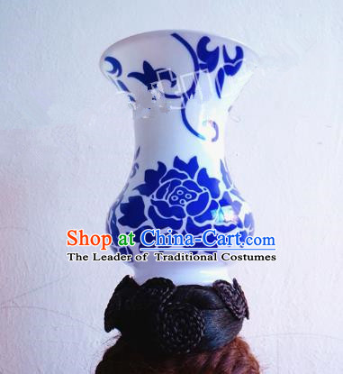 Asian Traditional Blue and White Porcelain Headpieces Model Show Headdress Ceremonial Occasions Handmade Hair Accessories
