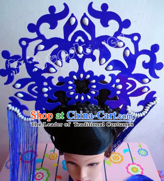 Asian Traditional China Blue Tassel Headpiece Model Show Headdress Ceremonial Occasions Hair Accessories and Wig