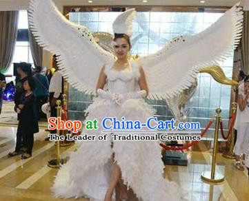 Top Grade Halloween Model Show Costume Ceremonial Occasions Brazil Parade Giant Feather Clothing and Hair Accessories